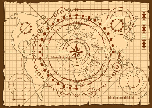 Geometric pattern on the old world map. Vector illustration.
