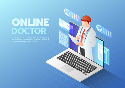 Isometric Web Banner Doctor doing Online Diagnose on The Computer Laptop Screen