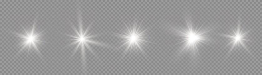 Fototapeta Star burst with light, white sun rays.  obraz