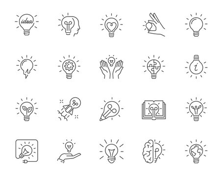 Set of vector outline icons of light bulbs with various symbols of creative thinking