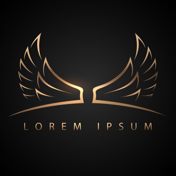 Gold wings logo template on black background