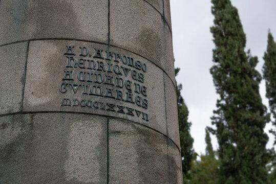 Letter caption at Afonso Henriques statue in Guimaraes