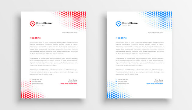 abstract halftone style letterhead template design