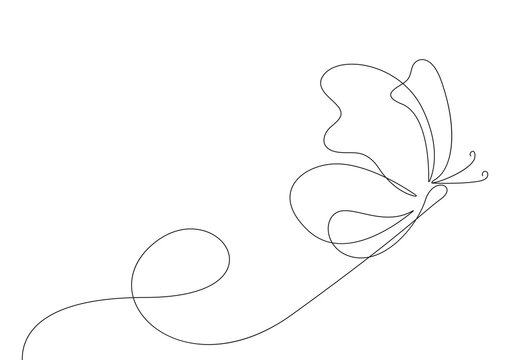 Butterfly Continuous One Line Drawing. Simple Butterfly One Line Drawing. Minimalist Contour Illustration. Vector EPS 10.