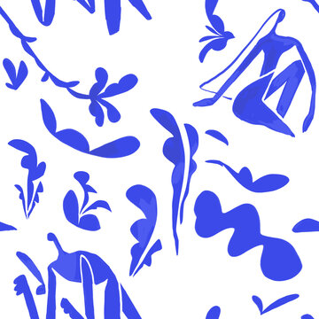 seamless blue pattern collage in fauvism and matisse design style. French art floral pattern for fashion and decoration industry. Isolated on white
