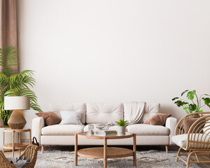 farmhouse interior living room, empty wall  mockup in white room with wooden furniture and lots of  green plants, 3d render - fototapety na wymiar