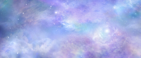 Beautiful heavens above celestial concept background banner - beautiful blue pink purple green...