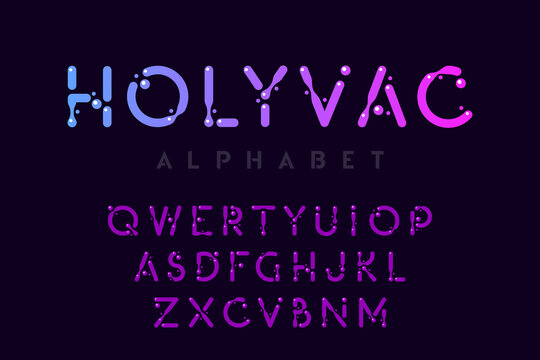 Liquid alphabet, bubble style letter collection, vector illustration