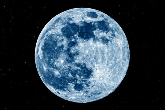 The picture shows the blue moon over the city of Bottrop in North Rhine-Westphalia with a clear night sky.