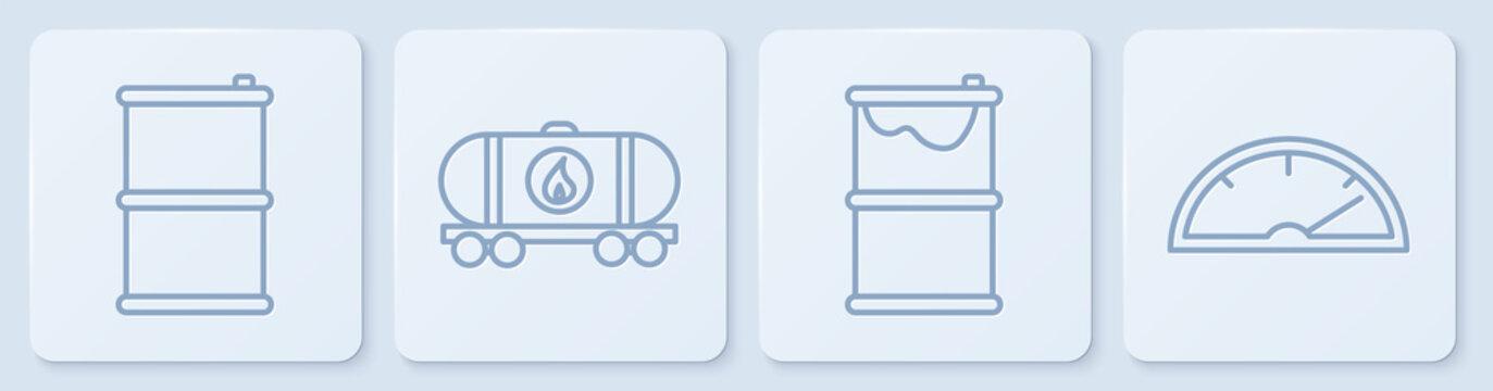 Set line Barrel oil, Barrel oil leak, Oil railway cistern and Speedometer. White square button. Vector
