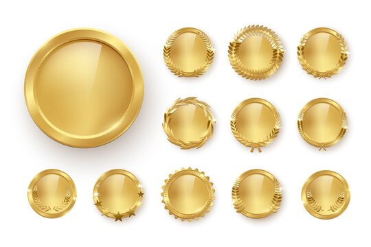 Award golden blank medals 3d realistic illustration. First place medals with laurel leaves. Certified. Quality blank, empty badge, emblem set