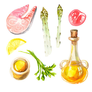 Watercolor set with Mediterranean cuisine on a white background. Clipart with fresh and healthy food. Salmon fillet, olive oil, parsley, lemon, asparagus and tomato isolated on white background.