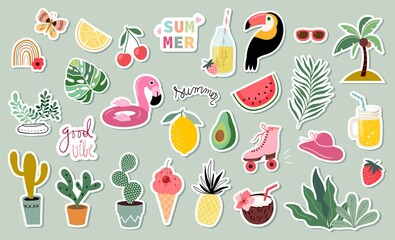 Obraz Summer stickers collection with different seasonal elements - fototapety do salonu