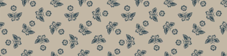 Hand carved butterfly block print seamless border pattern. Rustic naive folk motif illustration banner. Modern simple heritage style natural lino cut illustration. Ethnic edge bordure trim.