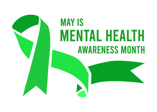 Mental Health Awareness Month vector illustration with green ribbon
