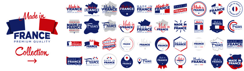 Fototapeta Collection of badge logotype of Made in France with ribbon and flag on white background, For art template design, page, mockup brochure style, banner, idea, cover, booklet, print, flyer, book, card obraz