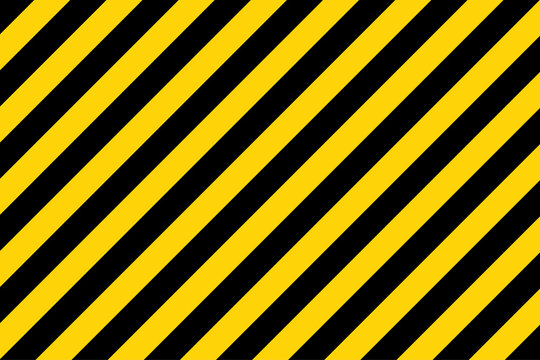 Black and yellow diagonal line striped. Blank vector illustration warning background. Hazard caution sign tape. Space for text
