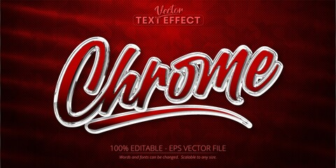 Chrome text, shiny silver color style editable text effect on red camouflage background