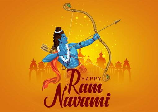 Happy Ram Navami festival of India. Lord Rama with arrow. vector illustration design