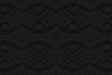 Fototapeta Geometric volumetric convex black background. Ethnic African, Mexican, Indian motives. Doodling style. 3D relief figured horizontal pattern.