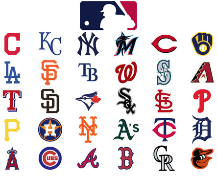 Major league baseball logo. Set of all 30 mlb teams. Baseball icons set teams of america.