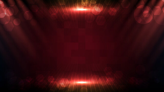 Abstract futuristic red background with beautiful spotlight ray