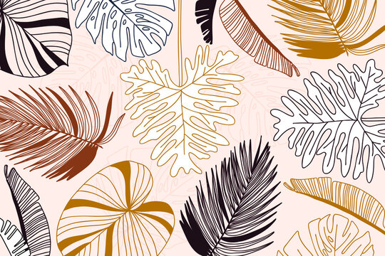 Linear tropical background, jungle plants. Palm leaves. Floral exotic hawaiian wallpaper. Rainforest. Summer tropical leaf. Exotic hawaiian jungle, summertime style. Summer vector illustration.