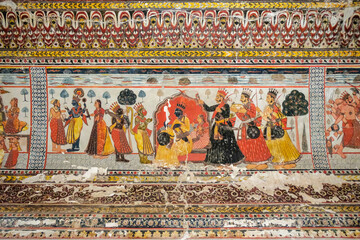 Fototapeta Detail of a mural from the Raj Mahal Palace in Orchha, Madhya Pradesh, India.