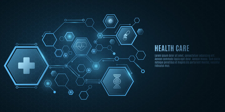 Digital medical science concept. Blue hexagon pattern with health care icons. Design for your ad, presentation, banner, template. Sci-fi futuristic background. Vector illustration.