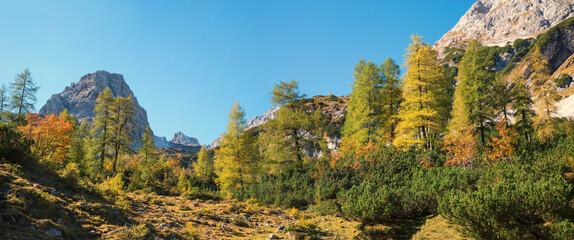 alpine landscape Ehrwald, hiking area Seebensee, autumnal scenery