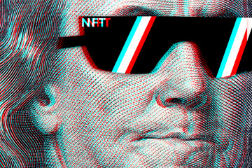 Concept cryptographic nft on a hundred-dollar bill franklin in glasses
