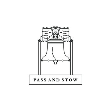 Crack liberty bell Philadelphia icon symbol logo design vector line art style