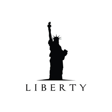 liberty statue silhouette logo design vector illustration
