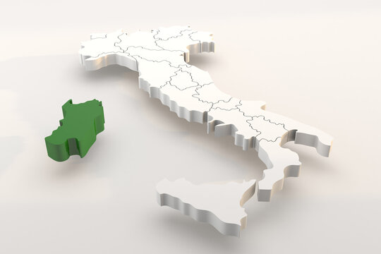 Italy map a 3d render isolated with Sardegna italian regions