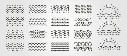 set bundled wave icon logo vector minimal illustration design, line art wave pack logo design
