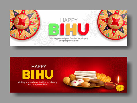 Greeting banners with japi (bamboo hat) and traditional sweets: ladoo and pitha (naricol, xutuli, koat, ghila, til) for North Indian Assamese New Year (and harvest) festival Rongali Bihu. Vector set.