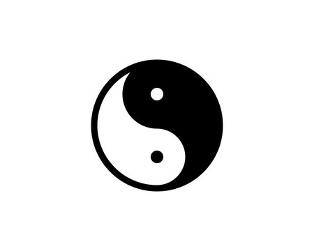 Ying yang symbol for balance and harmony flat vector icon for apps and websites