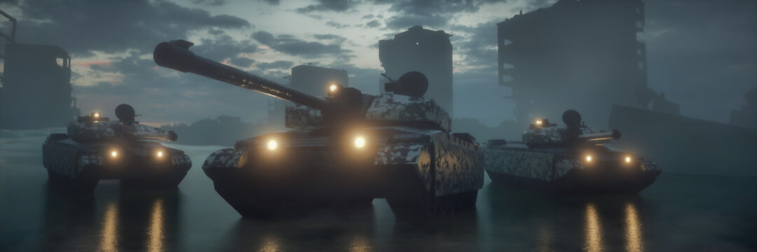 Military silhouettes three tanks on war fog sky background. Tanks battle. War Concept. 3d rendering