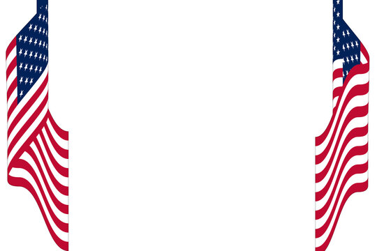 pair of waving red white blue american flags background border illustration