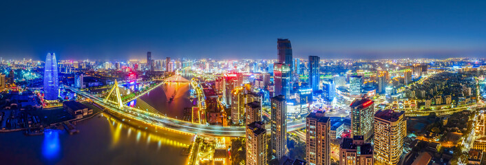 Aerial photography of Ningbo city scenery at night