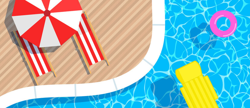 swimming pool inflatable  mattress and ring umbrella  loungers top view .summer vacation horizontal banner  vector illustration