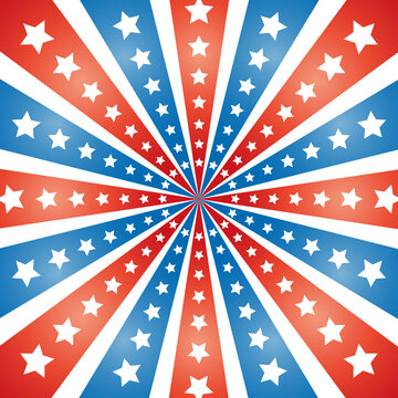 American abstract flag rays with stars background banner poster.