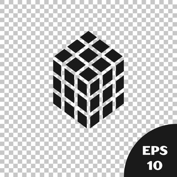 Black Rubik cube icon isolated on transparent background. Mechanical puzzle toy. Rubik's cube 3d combination puzzle. Vector