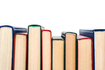 Obraz Stack of books isolated on white background. Top wie - fototapety do salonu