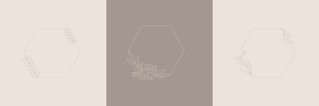 Wildflower Wedding Wreath Hexagon Frame line art style, Vector illustration design for invite card, invitation wedding, cosmetic and logo template, floral frame with copy space for text or letter