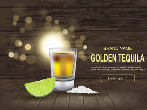 Mexican Gold Tequila shot, realistic style with green lemon slice, slot, free text space on wooden background. Concept luxury drink. Alcoholic drink concept. Easy to edit.