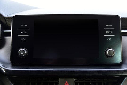 Screen multimedia system on dashboard in a modern car