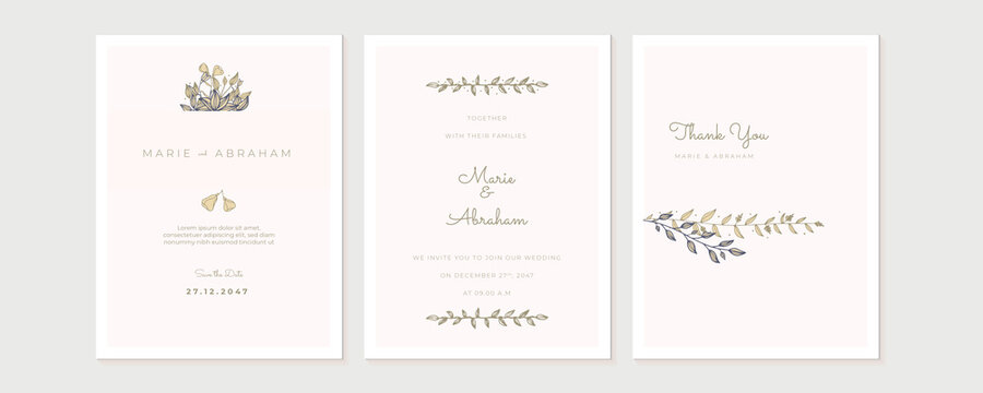 Wedding floral golden invitation card save the date design with pink flowers. Pink green geometry wedding invitation with floral and leaves. Vector birthday invitation for kid and baby