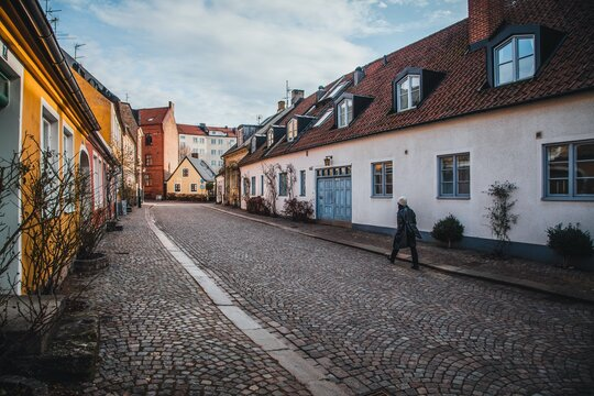 View down the cobblestone streets in Lund, Sweden