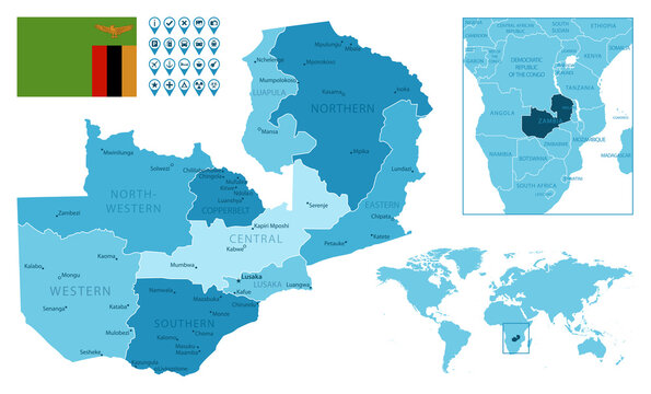 Zambia detailed administrative blue map with country flag and location on the world map.